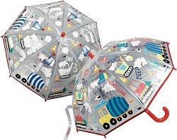 Детски чадър с променящ се цвят - Строителни машини -