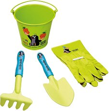 Градински инструменти - Комплект кофичка, лопатка, гребло и ръкавици -