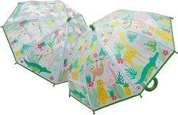 Детски чадър с променящ се цвят - Джунгла - чадър