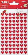 Самозалепващи стикери от филц - Червени сърца - Комплект от 84 броя