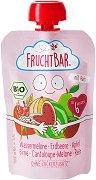 Fruchtbar - Био пюре с ябълки, круши, ягоди, диня, пъпеш и ориз - Опаковка от 100 g за бебета над 6 месеца -