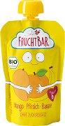 Fruchtbar - Био пюре с банани, праскови и манго - Опаковка от 100 g за бебета над 6 месеца - пюре