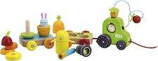 Низанка - Трактор със скрити животни - Дървена играчка за дърпане -