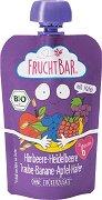 Fruchtbar - Био пюре с ябълки, банани, грозде, малини, овес и боровинки - Опаковка от 100 g за бебета над 6 месеца -