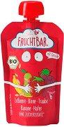Fruchtbar - Био пюре с круши, грозде, ягоди, банани и овес - Опаковка от 100 g за бебета над 6 месеца - пюре