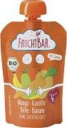Fruchtbar - Био пюре с круши, манго, банани и моркови - Опаковка от 100 g за бебета над 6 месеца - пюре