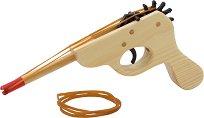 Пистолет с ластик - Дървена играчка -
