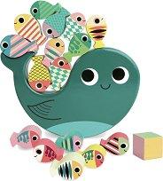 Кит с риби - Дървена игра за баланс -