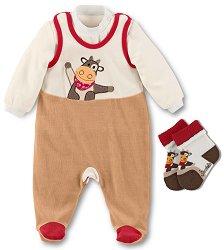 Бебешки плюшен комплект - Karlotta - Гащеризон, блуза и чорапи -