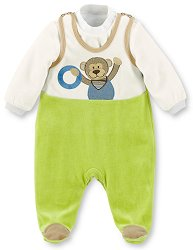 Бебешки плюшен комплект - Anton - Гащеризон и блуза -