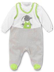 Бебешки плюшен комплект - Elias - Гащеризон и блуза -