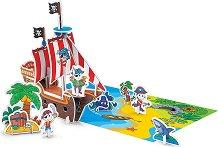"""Пиратски кораб - Картонен 3D модел за сглобяване и оцветяване от серията """"Art Berry"""" - играчка"""