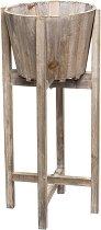 Дървен цветарник с кашпа - Grey