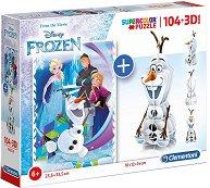 Замръзналото кралство - Комплект от пъзел и сглобяема 3D фигура -