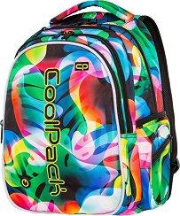 Ученическа раница с LED светлини - Joy: Rainbow Leaves - В комплект с катинарче и USB кабел - детски аксесоар