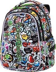 Ученическа раница с LED светлини - Joy: Graffiti - В комплект с катинарче и USB кабел - несесер