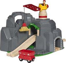 """Кран и планинска мина - Дървена играчка със звукови ефекти от серията """"Brio: Комплекти с релси"""" -"""