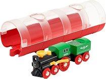 """Парен влак и тунел - Дървена играчка от серията """"Brio: Влакчета"""" -"""