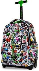 Ученическа раница с колелца и LED светлини - Junior: Graffiti -