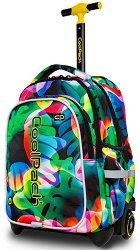 Ученическа раница с колелца и LED светлини - Junior: Rainbow Leaves - раница