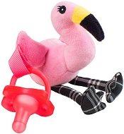 """Плюшен държач за залъгалка - Фламингото Фенси - Комплект със силиконова залъгалка за бебета от 0+ месеца от серията """"Lovey"""" -"""