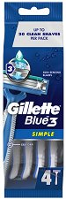 """Gillette Blue 3 Simple - Самобръсначки в опаковка от 4 броя от серията """"Blue 3"""" -"""