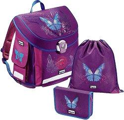 Ученическа раница - Baggymax Canny: Butterfly - Комплект с ученически несесер и спортна торба - раница