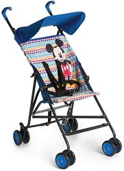 Лятна бебешка количка - Sun Plus: Mickey Geo Blue - С 4 колела - столче за кола