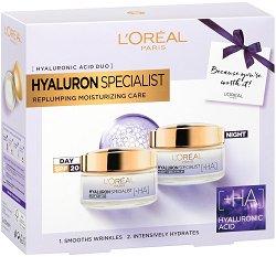 Подаръчен комплект - L'Oreal Hyaluron Specialist - Дневен и нощен крем с хиалуронова киселина - продукт