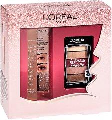 Подаръчен комплект - L'Oreal Paradise & La Petite - Спирала за мигли и палитра сенки за очи -