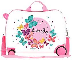 Детски куфар с колелца - Пеперуди - С размери - 50 / 38 / 20 cm -