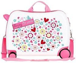 Детски куфар с колелца - Enjoy and Smile - С размери - 50 / 38 / 20 cm -