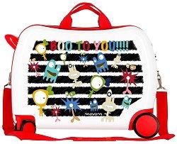 Детски куфар с колелца - Monsters - С размери - 50 / 38 / 20 cm -