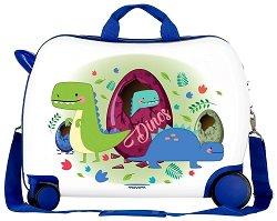 Детски куфар с колелца - Динозаври - С размери - 50 / 38 / 20 cm -