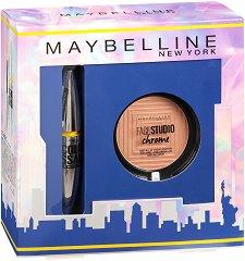 Подаръчен комплект - Maybelline Colossal Platinum & Master Chrome - Спирала за обемни мигли и хайлайтър - продукт