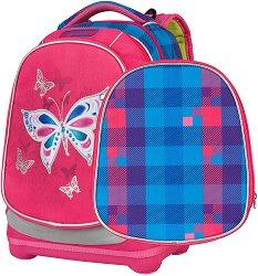 Ученическа раница с две лица - Petit: Butterfly - В комплект с папка - раница