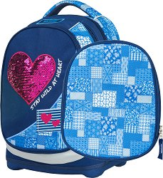 Ученическа раница с две лица - Petit: Denim Heart - В комплект с папка - раница
