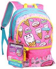 """Ученическа раница - Sweets - Комплект с 2 броя брокатено лепило за декориране : От серията """"Plus Girl"""" - раница"""