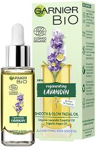 "Garnier Bio Lavandin Smooth & Glow Facial Oil - Био олио за лице с лавандула от серията ""Garnier Bio"" - продукт"