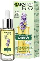 "Garnier Bio Lavandin Smooth & Glow Facial Oil - Био олио за лице с лавандула от серията ""Garnier Bio"" - маска"
