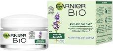 """Garnier Bio Lavandin Anti-Age Day Cream - Био дневен крем за лице против стареене с лавандула от серията """"Garnier Bio"""" - мокри кърпички"""