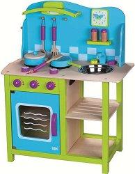 Детска дървена кухня - Комплект за игра с аксесоари -