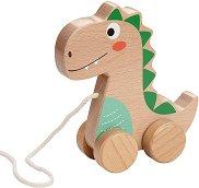Динозавър - Дървена играчка за дърпане - играчка