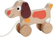 Кучето Цезар - Дървена играчка за дърпане и бутане -
