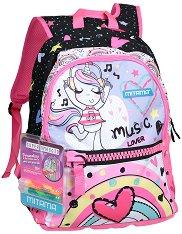 """Ученическа раница - Rainbow - Комплект с 2 броя брокатено лепило за декориране : От серията """"Plus Girl"""" - раница"""