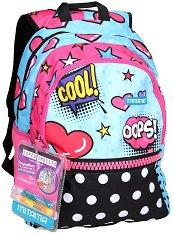 """Ученическа раница - Pop art - Комплект с 2 броя брокатено лепило за декориране : От серията """"Plus Girl"""" - раница"""