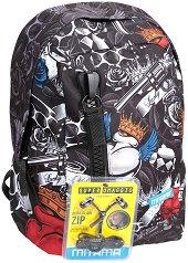 """Ученическа раница - Tattoo - Комплект със слушалки от серията """"TAG Boy"""" -"""