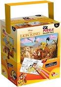 Цар Лъв - Двулицев пъзел с 4 цветни флумастера -