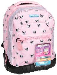 """Ученическа раница с колелца - Pink Dog - Комплект с 2 броя брокатено лепило за декориране : От серията """"Trolley Run"""" - раница"""