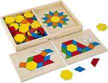 Мозайка - Геометрични фигури - Дървен комплект - играчка